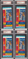 Baseball Collectibles:Tickets, 1997 World Series Full Tickets Lot of 4 PSA Mint 9....