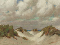 FRANK KLEPPER (American, 1890-1952) Dunes at Padre Oil on canvas 18 x 23-3/4 inches (45.7 x 60.3