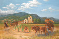 Texas:Early Texas Art - Regionalists, BEN CARLTON MEAD (American, 1902-1986). Santa Ynez Mission.Oil on linen. 36 x 60 inches (91.4 x 152.4 cm). Signed lower...