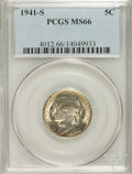 Jefferson Nickels: , 1941-S 5C MS66 PCGS. PCGS Population (157/1). NGC Census: (66/83).Mintage: 43,445,000. Numismedia Wsl. Price for problem f...