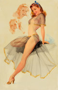 Pin-up and Glamour Art, TED WITHERS (American, 1896-1964). Seated Pin-Up. Oil oncanvas. 29 x 19 in.. Signed on reverse. ...
