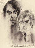 Mainstream Illustration, LEROY NEIMAN (American, b. 1926). Peter Cook and DudleyMoore, 1966. Mixed-media on paper. 30 x 20 in.. Signed lowercen...