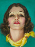 Mainstream Illustration, ROLF ARMSTRONG (American, 1889-1960). Brunette with PearlEarrings and Yellow Tied Scarf. Pastel on board. 16 x 12 in.....