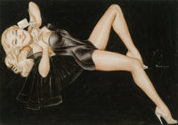ALBERTO VARGAS (American, 1896-1982) Love Letter, c. 1940 Mixed-media on paper 7 x 10 in. Sign