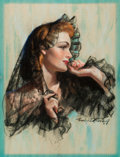 Pin-up and Glamour Art, BRADSHAW CRANDELL (American, 1896-1966). American Beauty,Cosmopolitan Magazine cover, June 1940. Pastel on board.2...