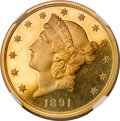 Proof Liberty Double Eagles, 1891 $20 PR63 ★ Ultra Cameo NGC. CAC....