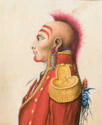 AMERICAN SCHOOL (18th Century) A Pair of North American Indian Portraits Watercolor on board 10-1