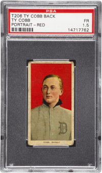 1909-11 T206 Ty Cobb Portrait Red Background with Ty Cobb Back PSA Fair 1.5