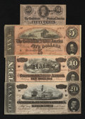 Confederate Notes:1864 Issues, Four Different Confederate 1864 Notes.. ... (Total: 4 notes)