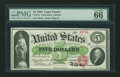 Large Size:Legal Tender Notes, Fr. 61a $5 1862 Legal Tender PMG Gem Uncirculated 66 EPQ....
