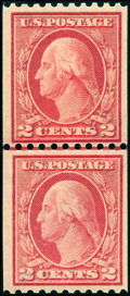 Stamps, 2c Red, Type I, Rotary Press Vertical Coil (449),... (Total: 1 Slab)