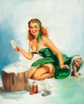 Pin-up and Glamour Art, EDWARD RUNCI (American, 1921-1985). Pin-up. Oil on canvas.30 x 24 in.. Signed lower left. ...