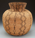 American Indian Art:Baskets, AN APACHE COILED STORAGE JAR. c. 1890...