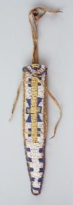 American Indian Art:Beadwork and Quillwork, A UTE BEADED HIDE TAIL BAG / WHETSTONE CASE. c. 1870...