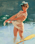 Pin-up and Glamour Art, GIL ELVGREN (American, 1914-1980). Upsetting Upset, 1969.Oil on canvas. 30 x 24 in.. Signed center-right. ...
