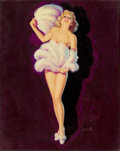 Pin-up and Glamour Art, AL BUELL (American, 1910-1996). Fan Dance. Oil on canvas. 20x 16 in.. Signed lower right. ...