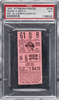 Baseball Collectibles:Tickets, 1972 Roberto Clemente's 3,000th Hit & Last Game Ticket Stub,PSA EX 5....