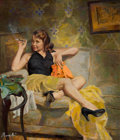 Pulp, Pulp-like, Digests, and Paperback Art, JAMES AVATI (American, 1912-2005). Goodbye to Berlin, paperbackcover, 1952. Oil on board. 24.5 x 20.5 in.. Signed lower...