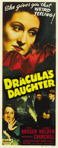 "Movie Posters:Horror, Dracula's Daughter (Realart, R-1949). Insert (14"" X 36"")...."