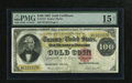 Large Size:Gold Certificates, Fr. 1214 $100 1882 Gold Certificate PMG Choice Fine 15 Net. Thecolors are sufficiently bright on this issue that has a repa...