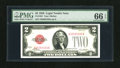 Small Size:Legal Tender Notes, Fr. 1501 $2 1928 Legal Tender Note. PMG Gem Uncirculated 66 EPQ.. Original paper waves are noted on the Legal Deuce....