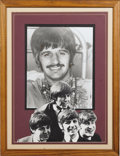 "Music Memorabilia:Autographs and Signed Items, Ringo Starr Autograph Display. A b&w 8"" x 10"" photo of Starrcirca the mid-'60s, signed by him in blue ballpoint and matted ..."