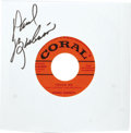 "Music Memorabilia:Sheet Music, Johnny Burnette ""Eager Beaver Baby""/""Touch Me"" Autographed 45(Coral 61829, 1957). Johnny's early recordings on Coral are hi..."