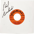 """Music Memorabilia:Recordings, Johnny Burnette and the Rock 'N Roll Trio """"Tear It Up"""" Autographed45 (Coral 61651, 1957). The first single release of the d..."""