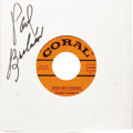 """Music Memorabilia:Recordings, Johnny Burnette """"Rock Billy Boogie""""/ """"If You Want It Enough"""" Autographed 45 (Coral 61918, 1957). Milestone recording, the 7t..."""