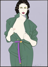 PATRICK NAGEL (American, 1945-1984) Playboy illustration Mixed-media on board 18.5 x 14.5 in