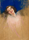 Pin-up and Glamour Art, ROLF ARMSTRONG (American, 1889-1960). Portrait of NormaShearer. Pastel on board. 40.75 x 29.25 in.. Not signed. ...