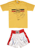 Boxing Collectibles:Autographs, Boxing Superstars Signed Trunks and Shirt.... (Total: 2 items)