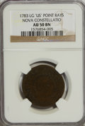 Colonials, 1783 COPPER Nova Constellatio Copper, Pointed Rays, Large US AU50NGC....