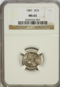 Three Cent Nickels, 1887 3CN MS65 NGC....