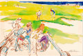 Mainstream Illustration, LEROY NEIMAN (American, b. 1926). Playboy illustration from Manat his Leisure, July 1973. Watercolor on board. 13.25 x ...