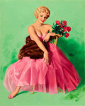 Pin-up and Glamour Art, EARL MORAN (American, 1893-1984). Lady in Pink. Oil oncanvas, wrapped around board. 30 x 24 in.. Signed center right. ...