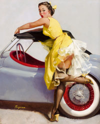 GIL ELVGREN (American, 1914-1980) Cover Up, 1955 Oil on canvas 30 x 24 in. Signed lower left