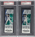 Baseball Collectibles:Tickets, 2004 Ichiro Suzuki Hits Record Full Tickets PSA Mint 9. ... (Total:2 items)