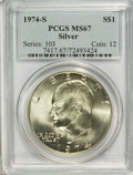 Eisenhower Dollars: , 1974-S $1 Silver MS67 PCGS. PCGS Population (3307/855). NGC Census: (645/120). Mintage: 1,900,156. Numismedia Wsl. Price fo...