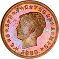 Patterns, 1880 $4 Coiled Hair Four Dollar, Judd-1661, Pollock-1861, Low R.7, PR64 Red and Brown NGC....