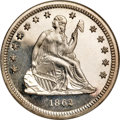 Proof Seated Quarters, 1862 25C PR67 Cameo NGC....