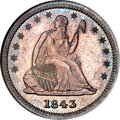 Proof Seated Quarters, 1843 25C PR64 NGC....