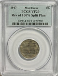 Errors, 1917 5C Nickel--Reverse of 100% Split Planchet--VF20 PCGS.. From The Victoria Collection....