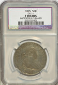 Early Half Dollars, 1805 50C --Improperly Cleaned--NCS. F Details. O-111. NGC Census:(8/252). PCGS Population (22/298). Mintage: 211,722. Numis...