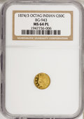 California Fractional Gold: , 1874/3 50C Indian Octagonal 50 Cents, BG-943, High R.4, MS64Prooflike NGC. NGC Census: (4/2). (#7...