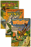 Golden Age (1938-1955):War, Wings Comics #43, 59, and 66 Group (Fiction House, 1944-46)Condition: Average FN-.... (Total: 3 Comic Books)