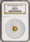 California Fractional Gold: , 1874 25C Indian Round 25 Cents, BG-875, High R.4, MS64 ProoflikeNGC. (#710736)...