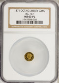 California Fractional Gold: , 1871 25C Liberty Octagonal 25 Cents, BG-767, R.3, MS63 ProoflikeNGC. NGC Census: (6/5). (#710594)...