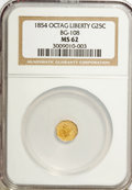California Fractional Gold: , 1854 25C Liberty Octagonal 25 Cents, BG-108, Low R.4, MS62 NGC. NGCCensus: (4/10). PCGS Population (40/51). (#10377). ...