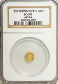California Fractional Gold: , 1859 25C Liberty Round 25 Cents, BG-801, R.3, MS64 NGC. NGC Census:(11/22). PCGS Population (37/12). (#10662). From Th...